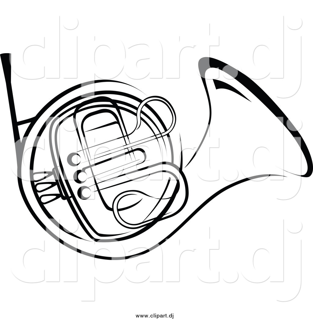 Vector Clipart of a Black and White French Horn by Vector.