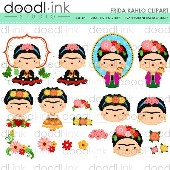 SALE 50%!!! Frida Kahlo Clipart / mexican Painter Cute Cartoon Clip.