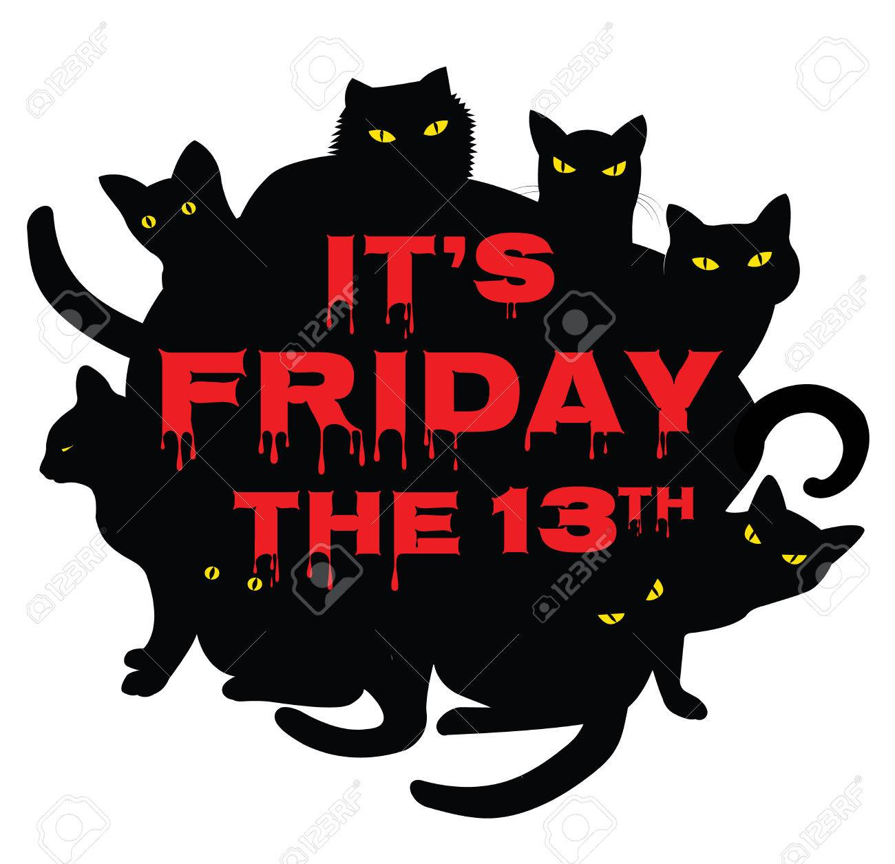 Card for Friday 13 with black cats.