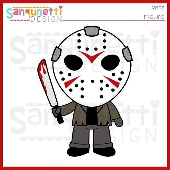 Jason Friday the 13th clipart, Halloween Horror digital art instant.