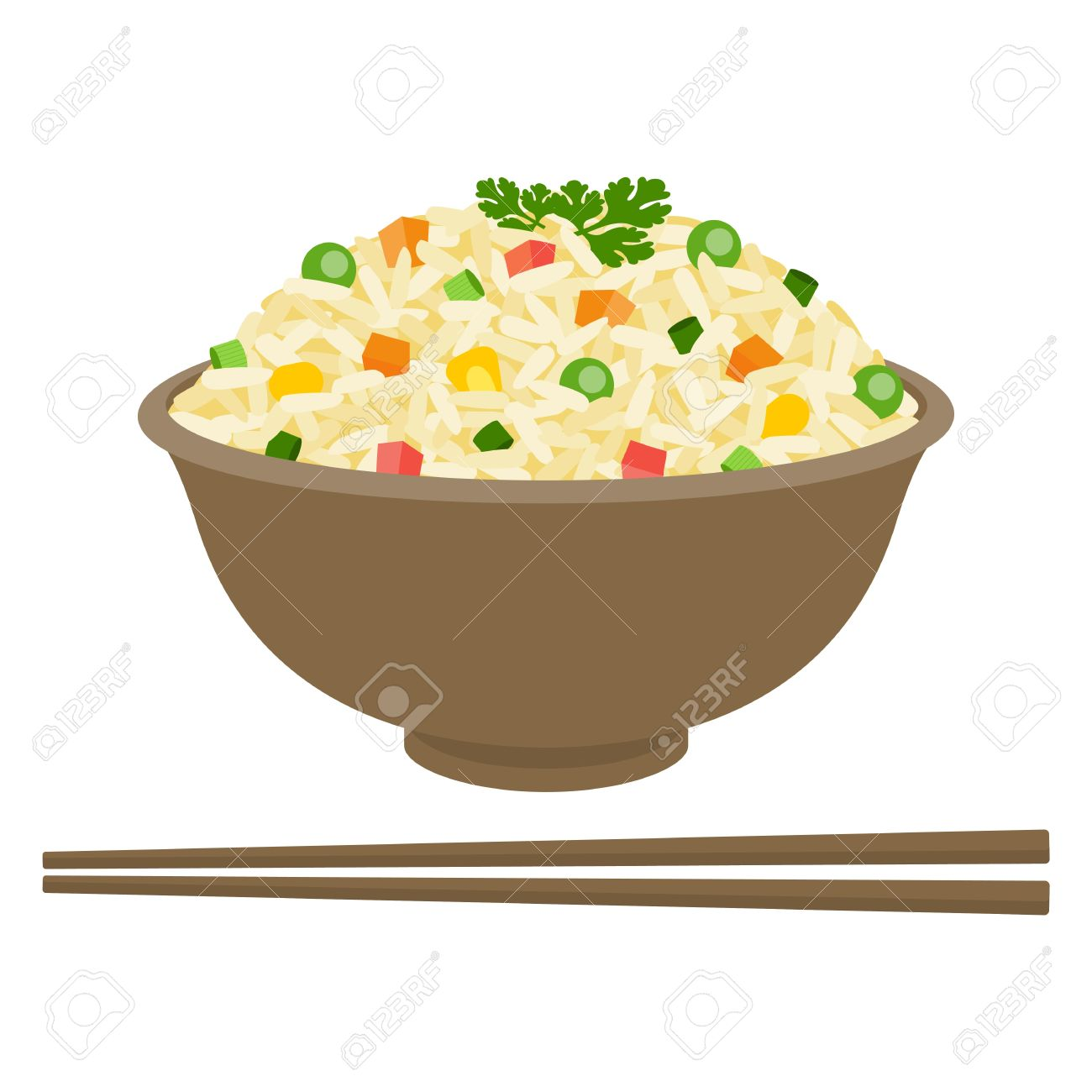 Fried rice in bowl with chopsticks, flat design.