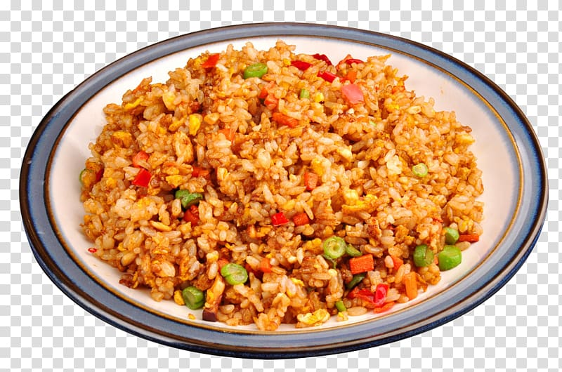 Cooked food on round white ceramic plate, Yangzhou fried rice Nasi.