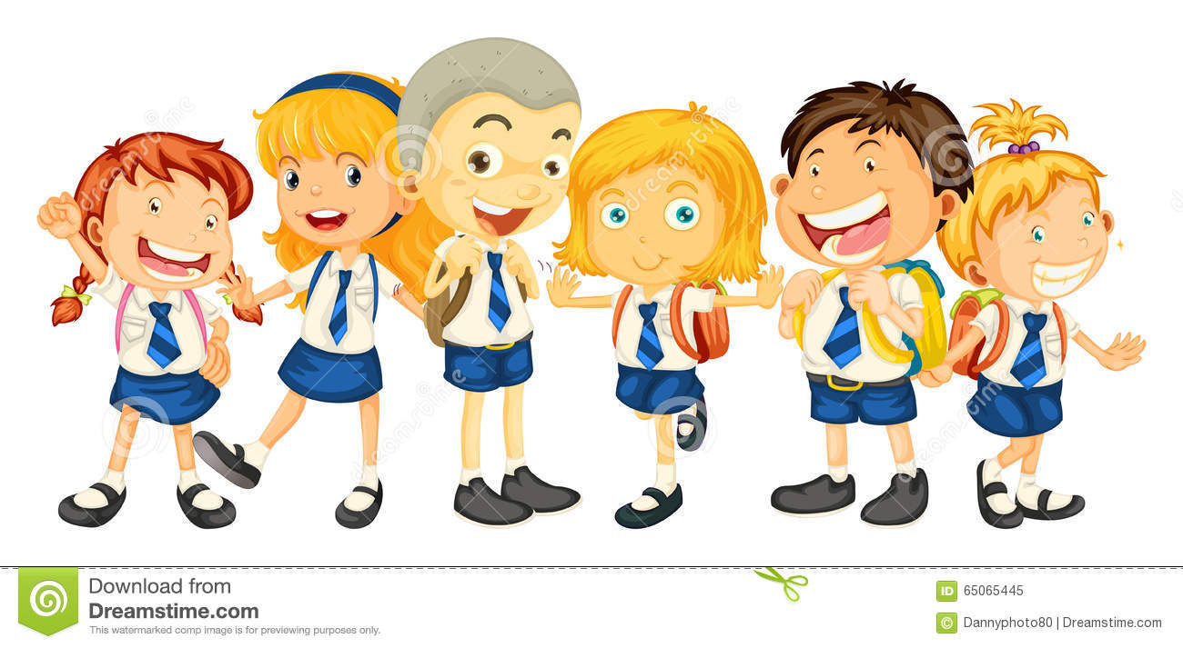 Group Of Friends At School Clipart.