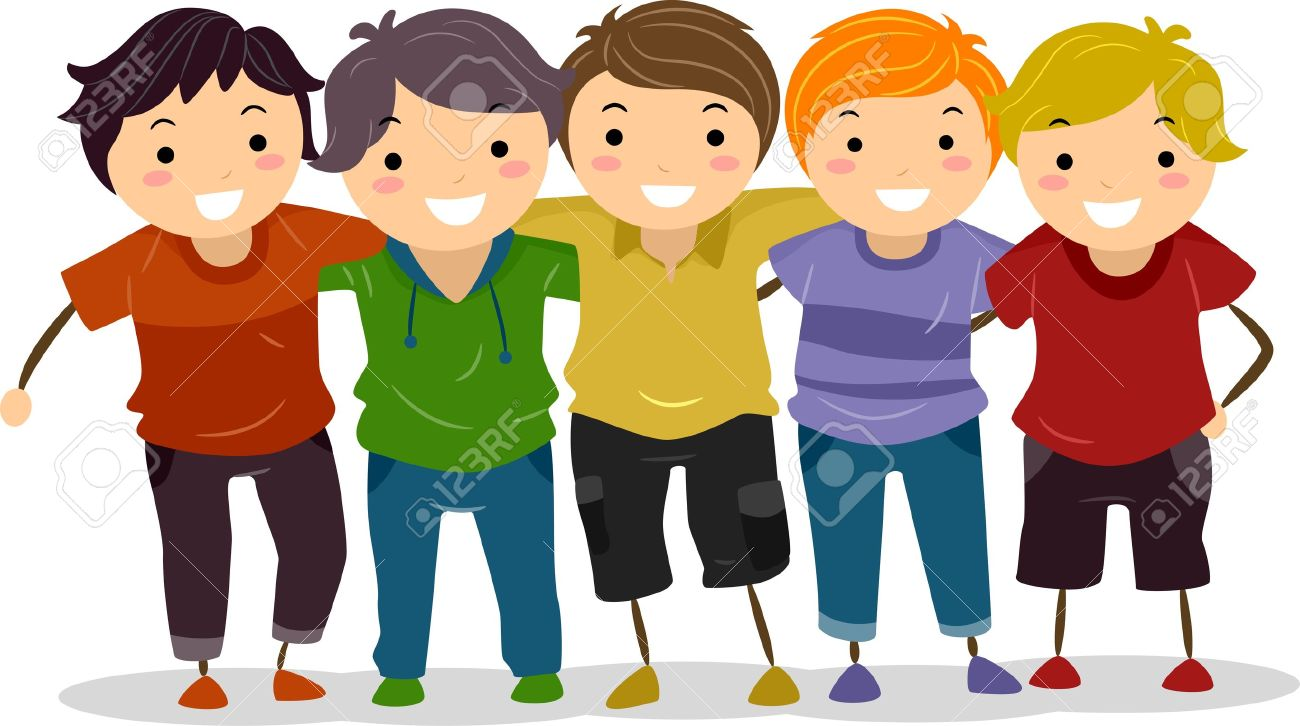 Group Of Boy Friends Clipart.