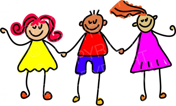 Toddler Art Happy Friends Holding Hands Prawny Clipart.