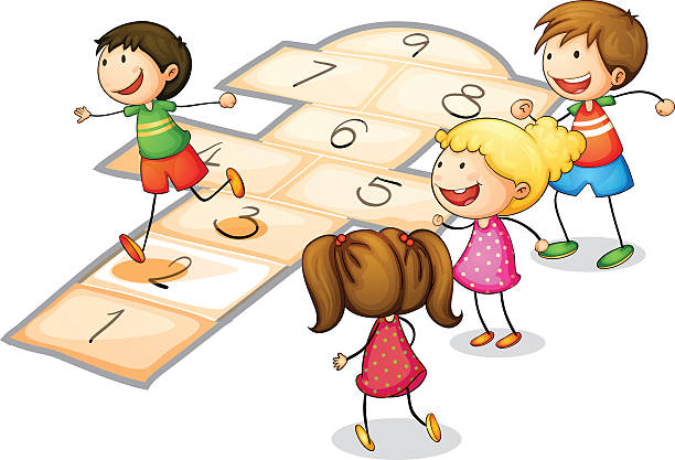 Young Friends Playing Hopscotch Illustrations, Royalty.