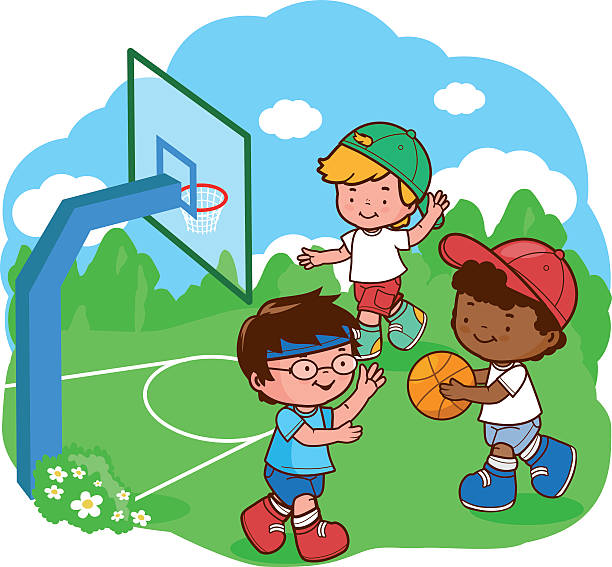 Best Friends Playing Basketball Illustrations, Royalty.