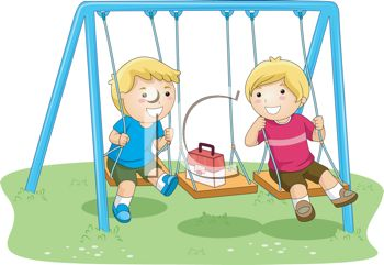 Best Friends Playing on a Swing Set.