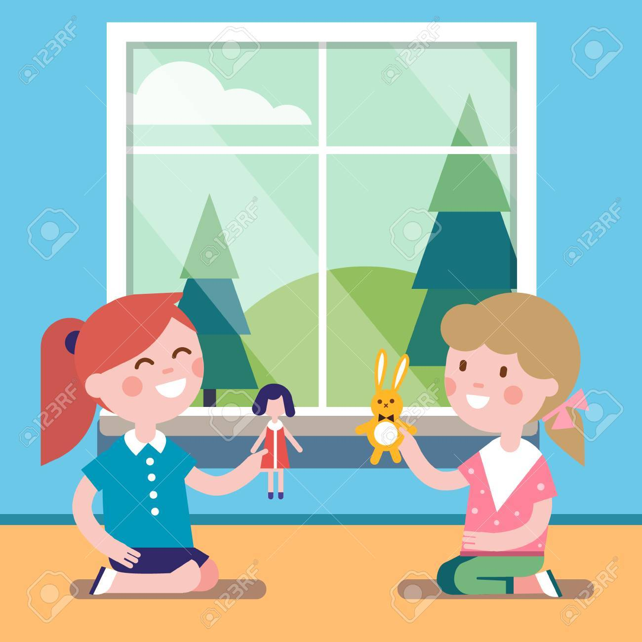 Two friends playing with toy dolls together at the big window.