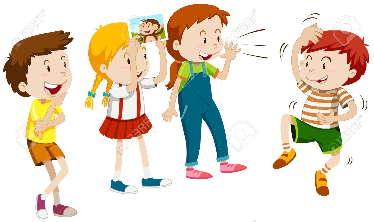 Children playing monkey with friends illustration.
