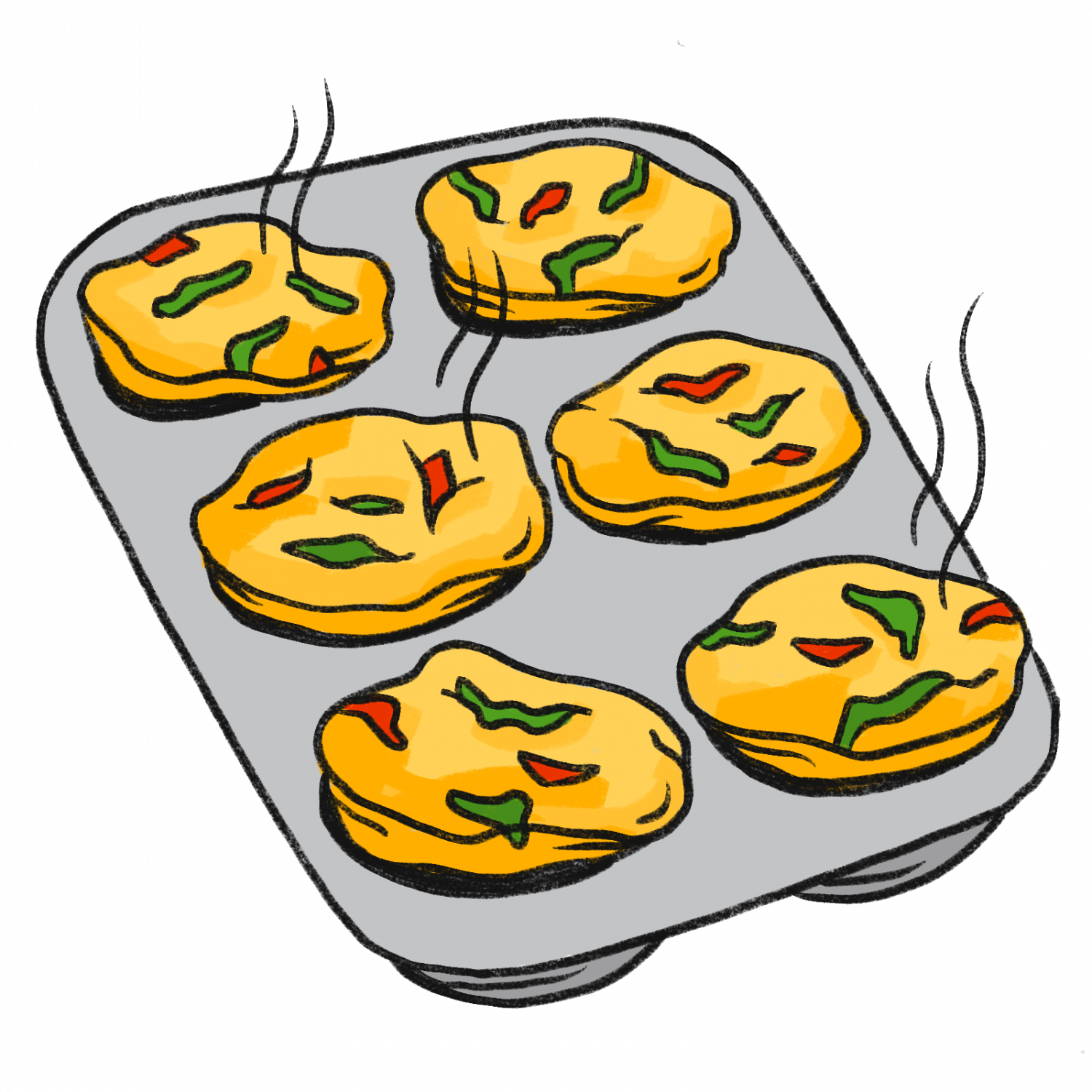 Recipe: Mini frittatas with spinach and red pepper.