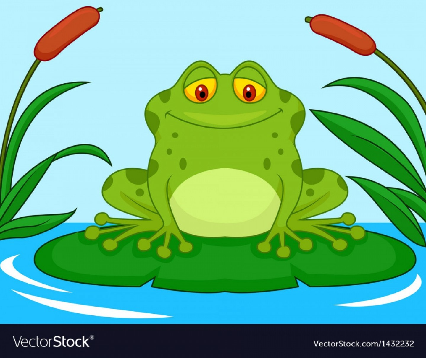 Frog On Lily Pad Clipart Cute Spotted Green Resting A Royalty Free.