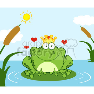 Crowned Frog Prince On A Lily Pad clipart. Royalty.