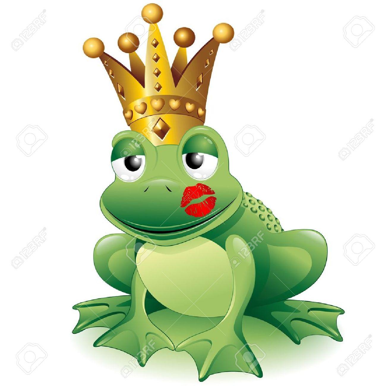 Prince Frog Cartoon Clip Art with Princess Kiss.