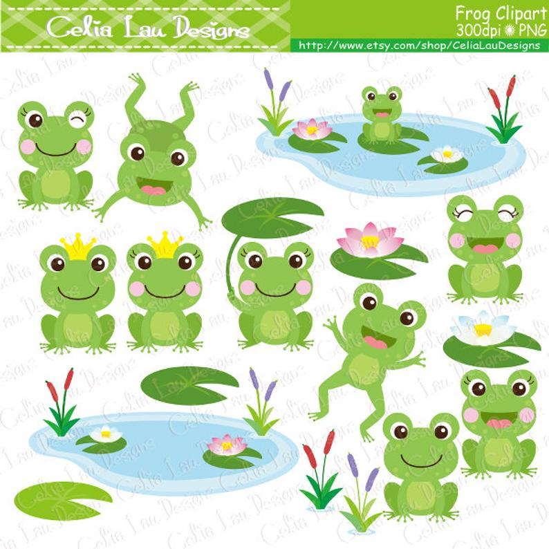 Frog Clipart , frogs clip art, lilypads, frogs, cat tail, cute frogs ,  prince frog, princess frog (CG214).