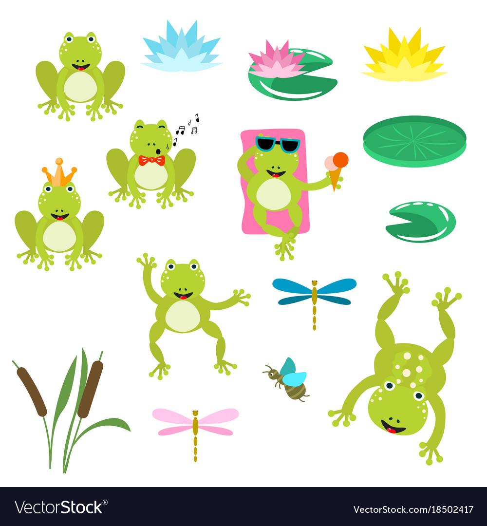 Frogs cartoon clipart set.