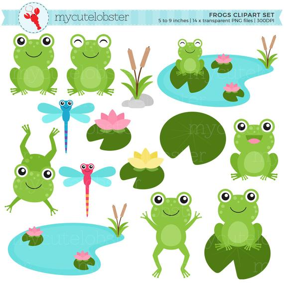 Frogs Clipart Set.