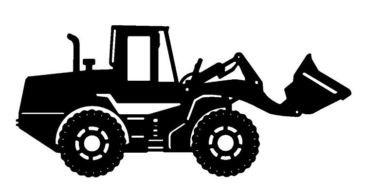 Front end loader tractor silhouette.