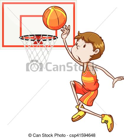 EPS Vector of Man shooting basketball in the hoop illustration.