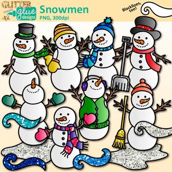 Snowmen Clip Art: Frosty the Snowman Winter Graphics {Glitter Meets Glue}.