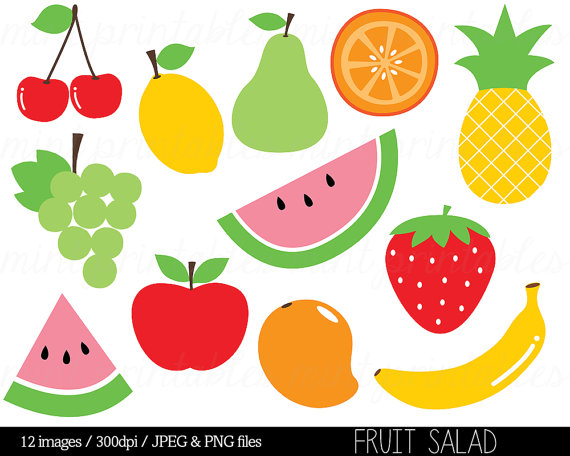 Fruit Clipart Clip Art, Fruit Salad, Watermelon, Pineapple.