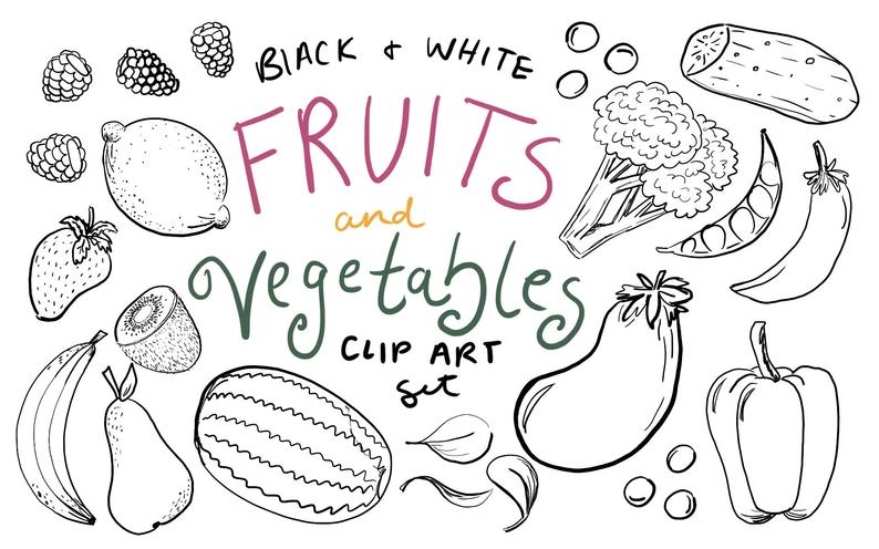 Black and White Fruit and Vegetable Clip Art, Hand drawn fruit clip art,  hand drawn vegetable clip art, commercial use clip art.