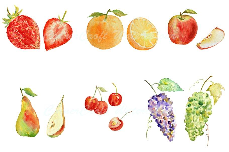 Watercolor Fruit Clipart.