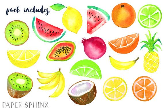 Watercolor Tropical Fruit Clipart Fruit Clip Art in 2019.