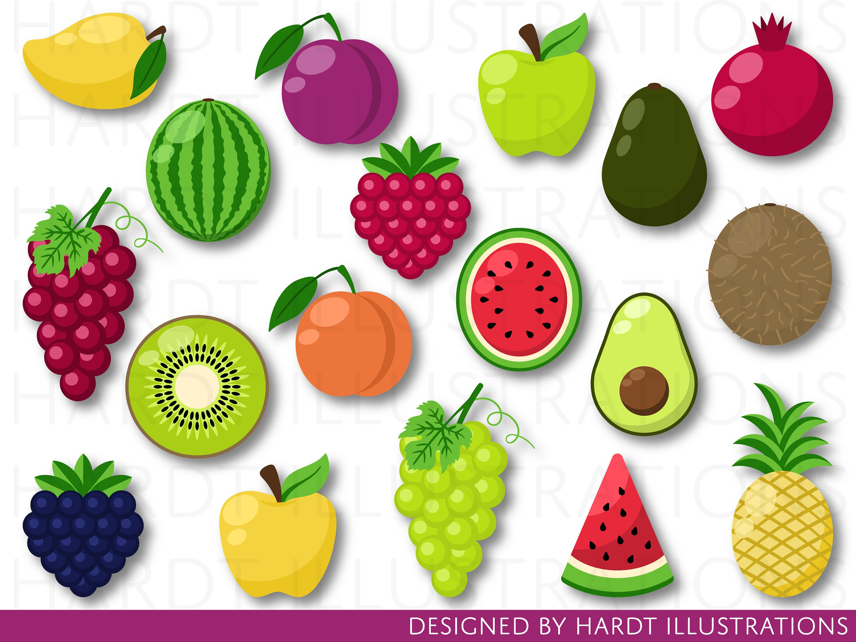Fruit Clipart, Fruits Clipart, Fruits Clip Art, Tutti Frutti, Tropical  Clipart, Watermelon Clipart, Pineapple Clipart, Food Clipart.