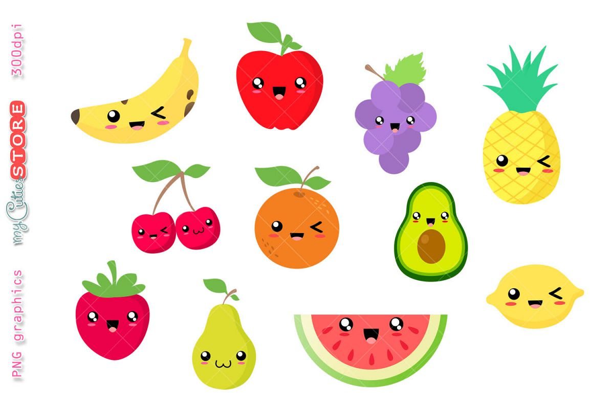 Collection of kawaii fruits clipart. Watermelon, pinneapple..