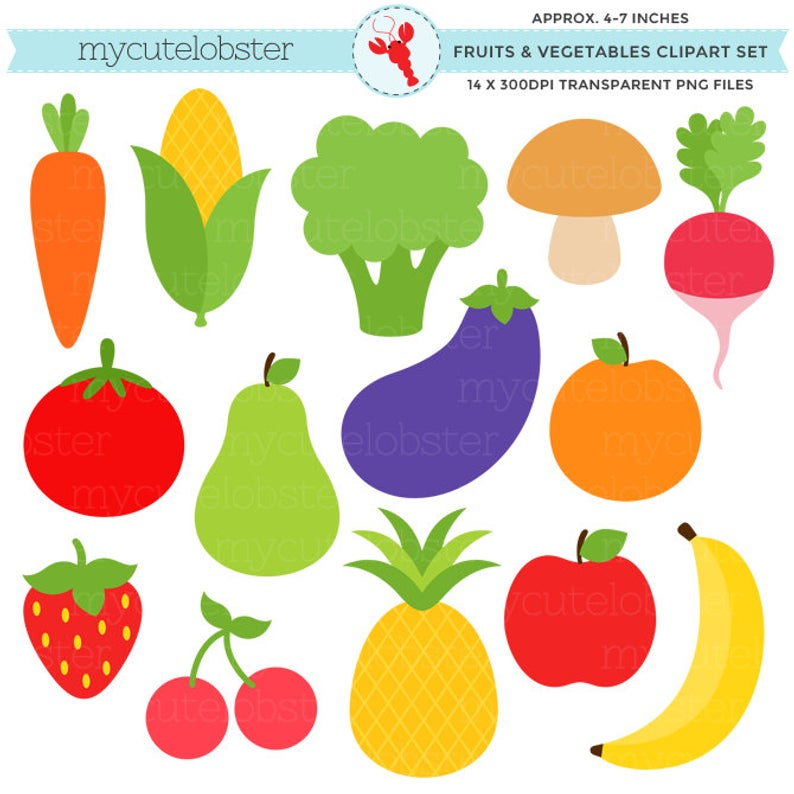 Fruits & Vegetables Clipart Set.