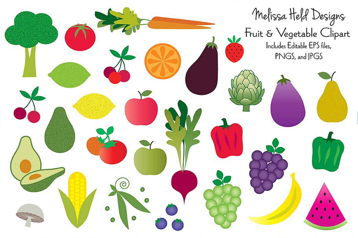Fruits and Vegetables Clipart By Melissa Held Designs.