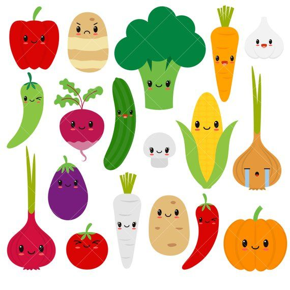 Kawaii Vegetables / Cute Vegetable Clipart / Happy Veggies.
