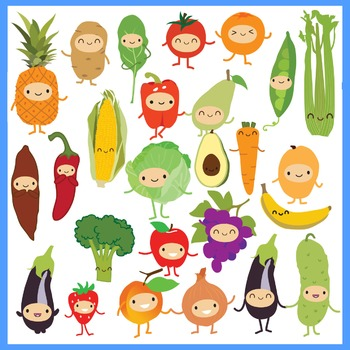 Cute Fruits & Vegetables Clipart.