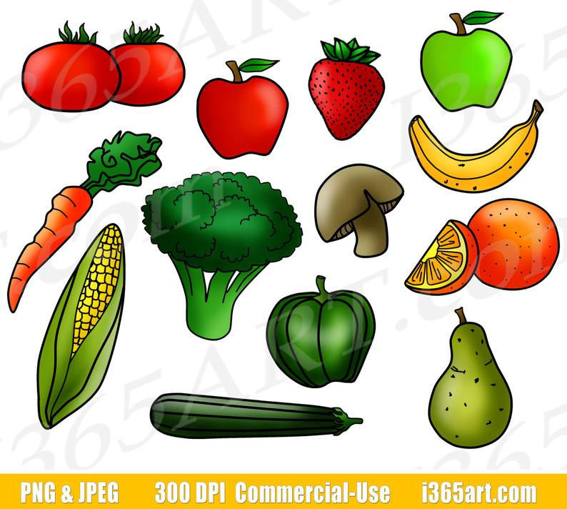 Fruits and Vegetables Clipart, Fruit Clip Art, Vegetable Clip Art, Digital  Graphics, Food Groups, Printable, PNG, Commercial.