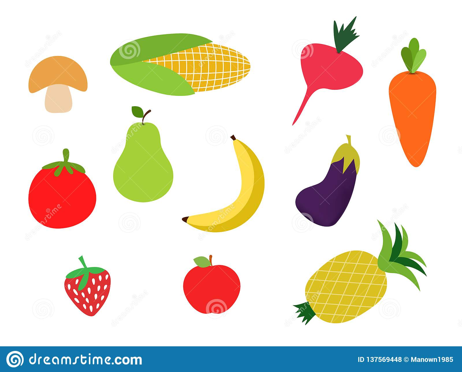 Colorful Fruits And Vegetables Clipart Set,banana,carot Stock Vector.