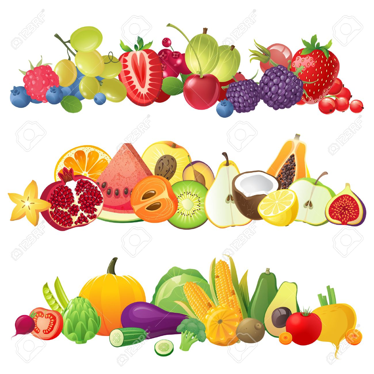 3 fruits vegetables and berries horizontal borders.
