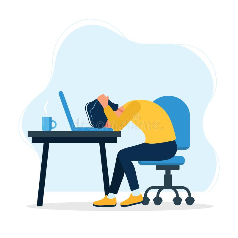 Cartoon Frustrated Office Worker Stock Illustrations.