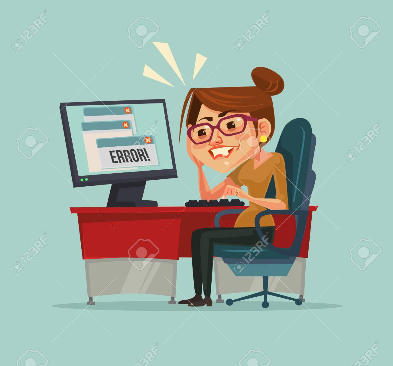 404 error message on computer. Frustrated office worker woman...