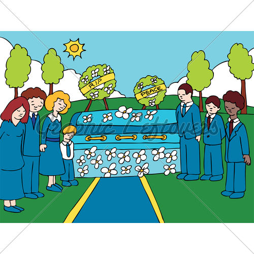 People Crying At A Funeral Clipart.