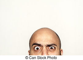 Stock Photo of half funny face big eyes expression looking on.