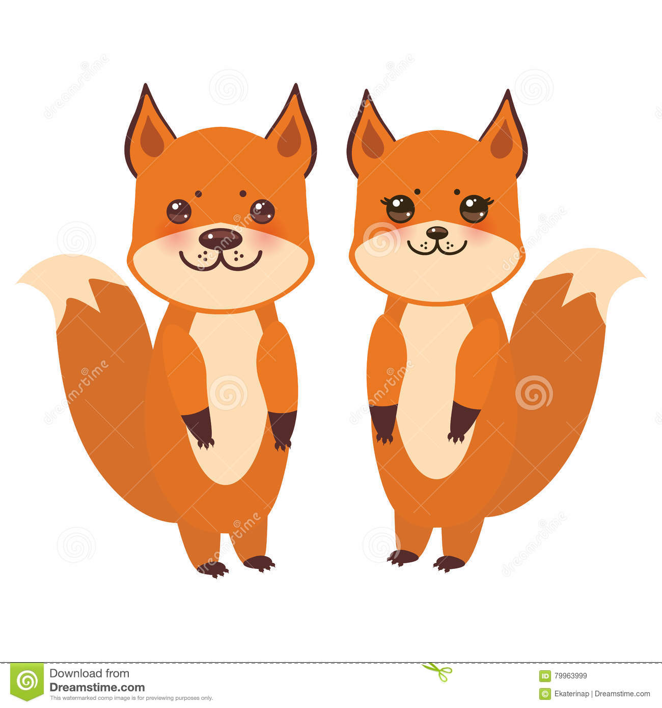 Set Of Cute Fox, Boy And Girl With Funny Face And Big Eyes And.