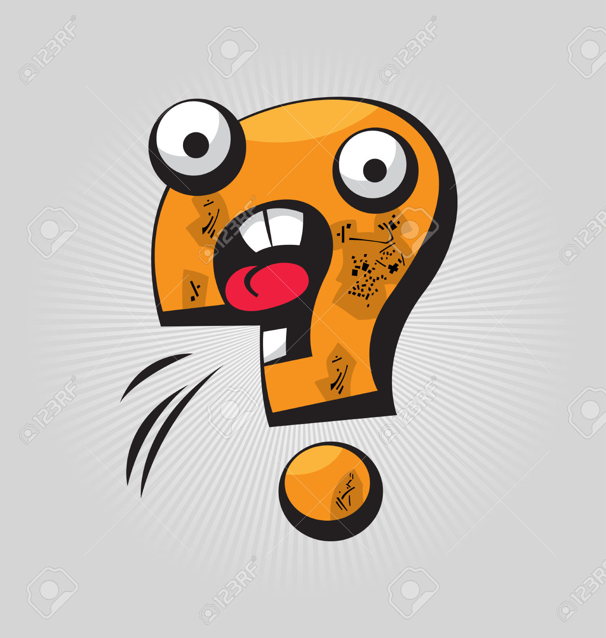 Childish Confused Question Mark With Big Eyes And Funny Face.