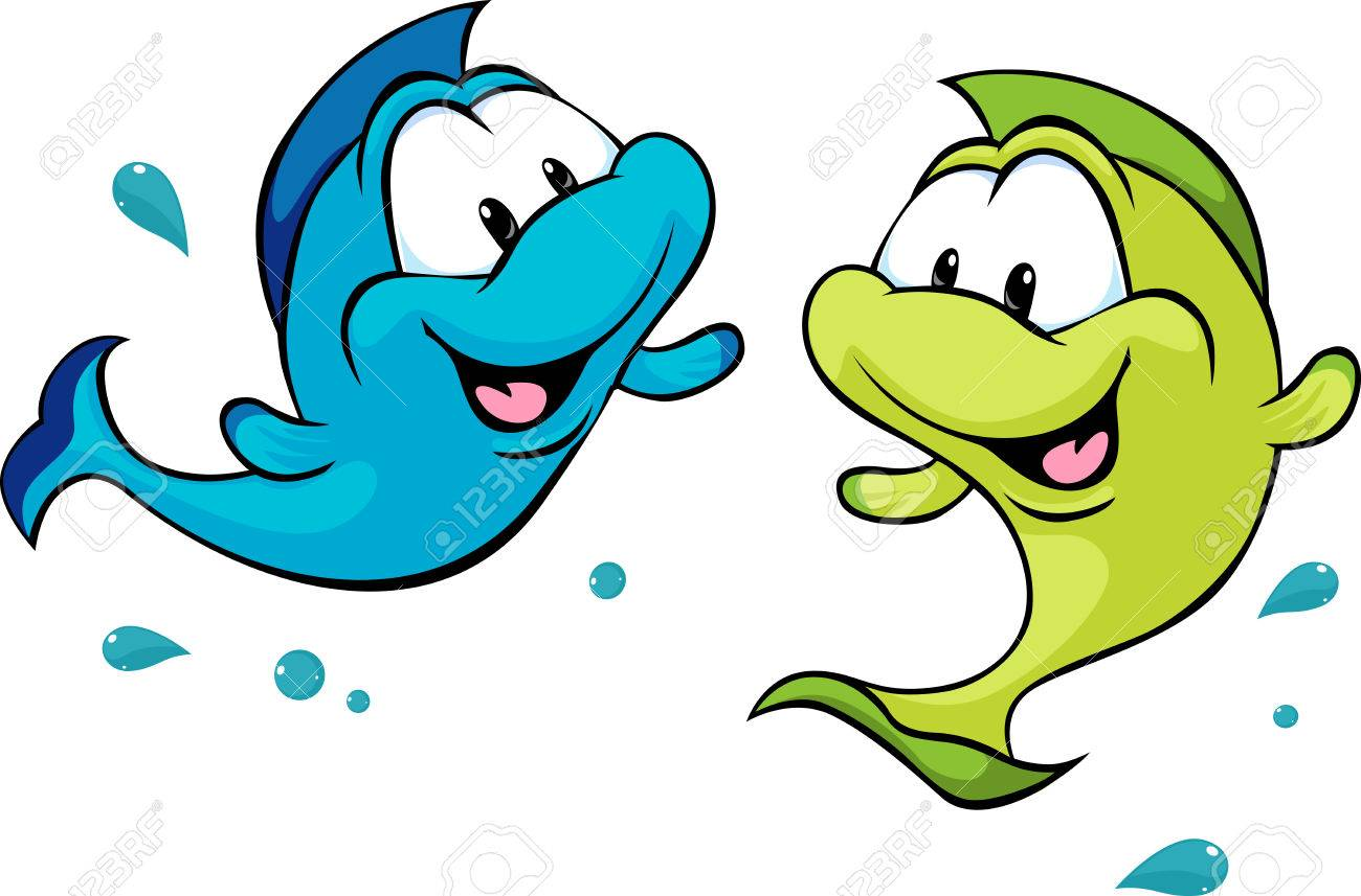 two funny fish isolated on white background.
