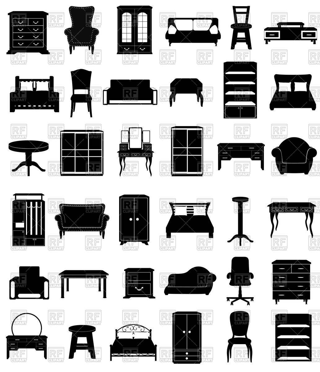 Set of furniture silhouettes Stock Vector Image.