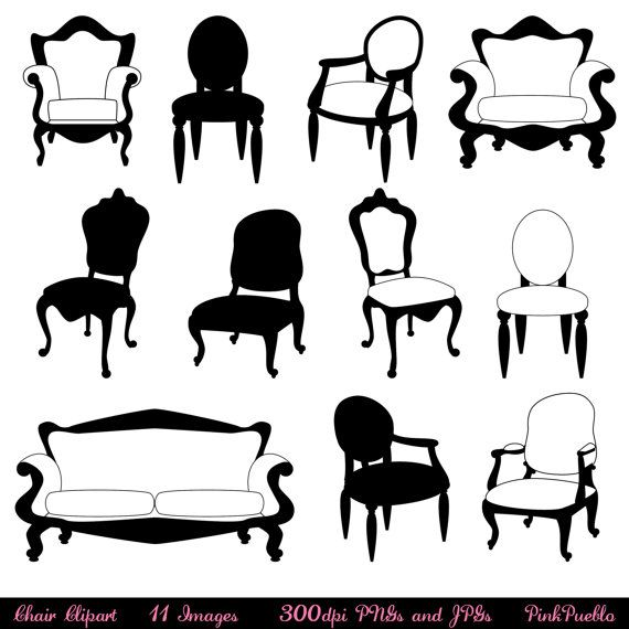 Chair Clip Art Clipart, Chair Silhouettes, Furniture Clip Art.
