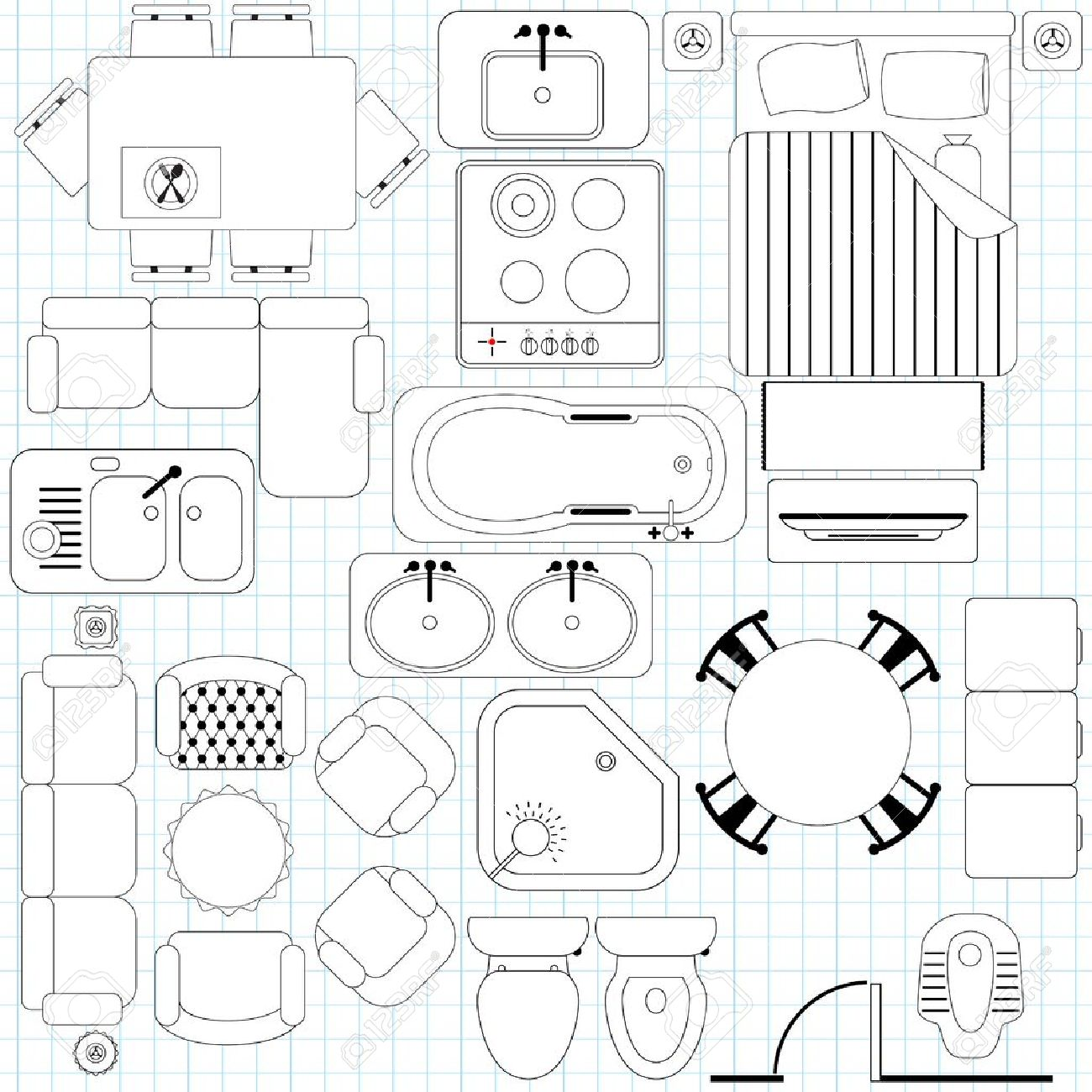 Art Small Interior : Furniture Clipart For Floor Plans.