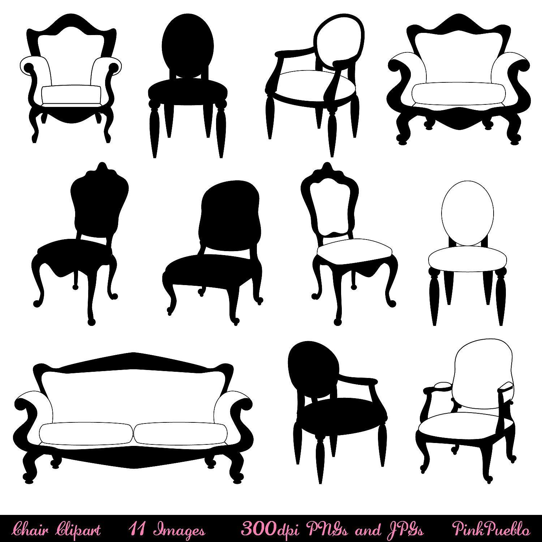 Chair Clip Art Clipart, Chair Silhouettes, Furniture Clip.