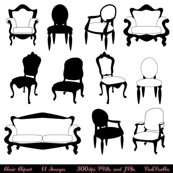 Chair Clip Art Clipart, Chair Silhouettes, Furniture Clip Art.