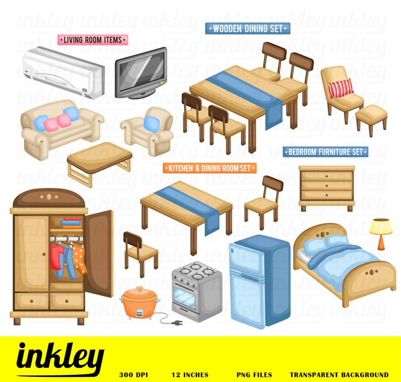 Furniture Clipart, Furniture Clip Art, Furniture Png, Television Clipart,  Cupboard Clipart, Cabinet Clipart, Bed Clipart, Table Clipart.